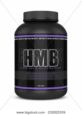 3d Render Of Hmb Container Isolated Over White Background. Sport Supplement Concept.