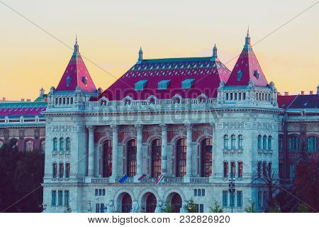 Hungary, Budapest Architecture, Historical Beautiful Building. European Old City Castle Building Ext