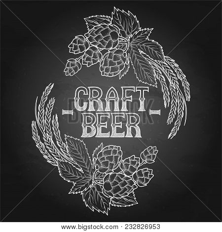 Vintage vignette made of hops and malts isolated on the blackboard background. Vector graphic design drawn in engraving technique poster