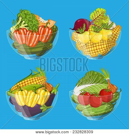 Fresh Organic Vegetable In Glass Bowl Set Isolated Illustration. Eco Farming, Vegetarian Nutrition,