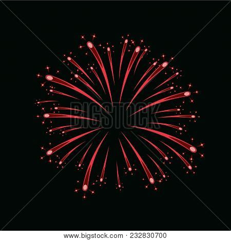 Beautiful Red Firework. Bright Firework Isolated On Black Background. Light Red Decoration Firework