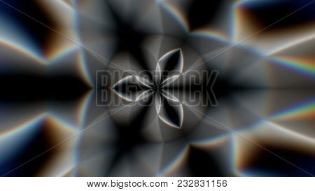 Abstract Symmetry Kaleidoscope With Chromatic Aberrations, 3d Rendering Backdrop, Computer Generatin