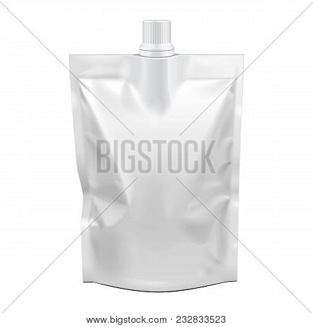 Blank Food Stand Up Flexible Pouch Sachet Bag With Spout Lid. Mock Up, Template. Illustration Isolat
