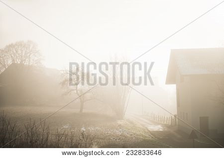 Foggy Morning In The Countryside. Rhone-alpes, France