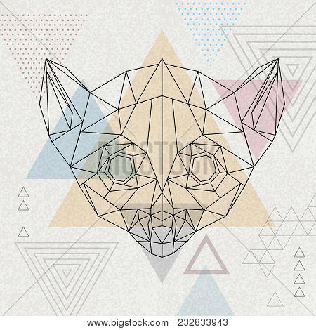 Abstract Polygonal Tirangle Animal Lemur. Hipster Animal Illustration.
