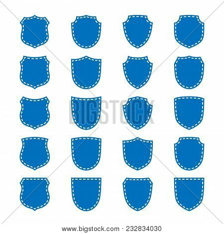 Shield Shape Icons Set. Blue Label Signs Isolated On White. Symbol Of Protection, Arms, Coat Honor,