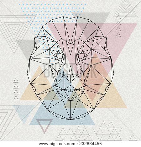 Abstract Polygonal Tirangle Animal Lion. Hipster Animal Illustration.