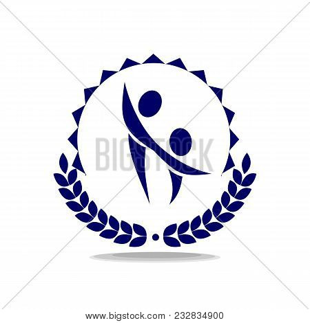 Two Simple Figures Hold Hands. Logo With Laurel. Education And School.  Boy With Mom