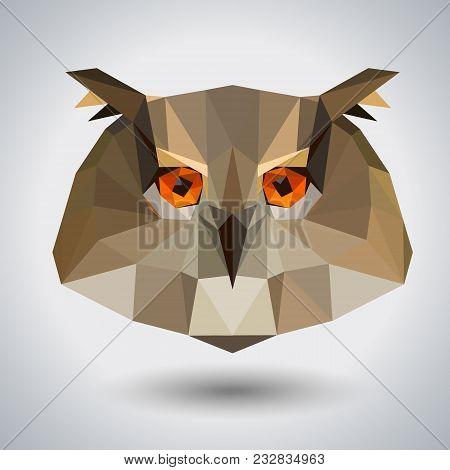 Abstract Polygonal Tirangle Animal Owl. Hipster Animal Illustration.