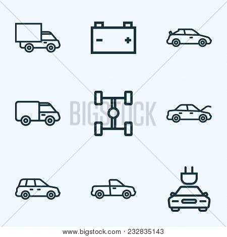 Automobile Icons Line Style Set With Crossover, Hood, Plug And Other Crossover Elements. Isolated Ve
