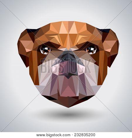 Abstract Polygonal Tirangle Animal Bulldog. Hipster Animal Illustration.