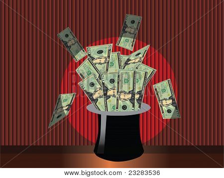 Magic money hat vector