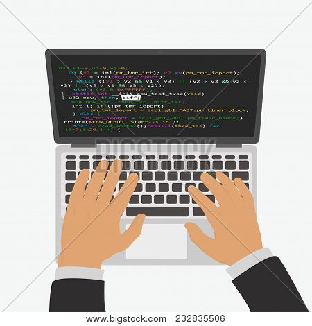 The Programmer Develops A Program Code In The Editor Integrated Development Environment. Isolated On