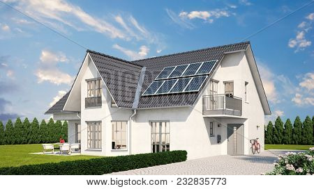 Solar system or photovoltaic on detached house with garden in front of a blue sky (3D Rendering)