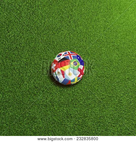 Soccer ball with flags of world countries on green football field (3D Rendering)
