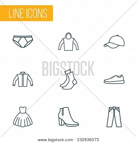 Garment Icons Line Style Set With Evening Gown, Female Boots, Socks And Other Sweatshirt Elements. I