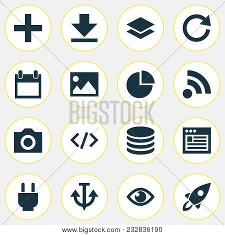 User Icons Set With Reload, Code, Database And Other Downloading Elements. Isolated  Illustration Us