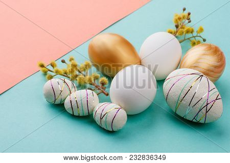 Still Life Easter Decoration. Close Up Modern Easter Eggs And Catkins On Colorful Background. Easter