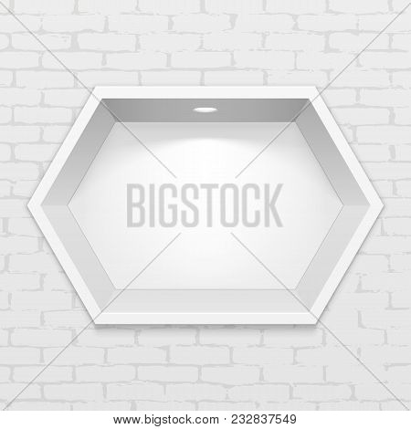 Empty Hexagonal Niche Shelf Display In The Brick Wall. To Present Your Product. Mock Up. 3d Illustra
