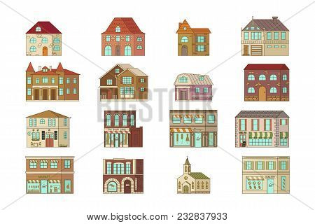 Cartoon House Isolated On White Background. Stone Home Or Cottage Building With Restaurant, Shop And