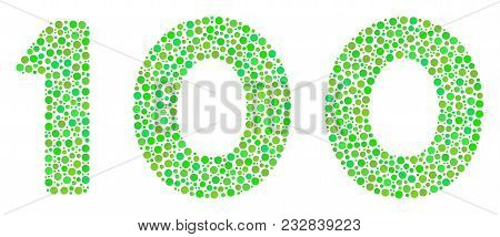 100 Text Collage Of Round Dots In Variable Sizes And Eco Green Color Tints. Circle Elements Are Unit