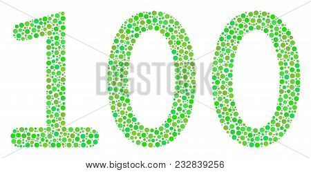 100 Text Composition Of Small Circles In Different Sizes And Eco Green Color Hues. Round Dots Are Co