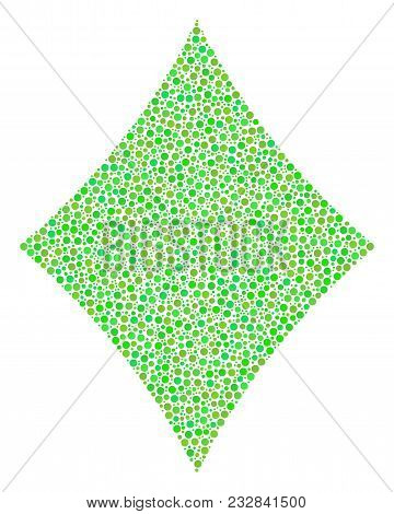 Diamonds Suit Mosaic Of Small Circles In Variable Sizes And Eco Green Shades. Round Dots Are Compose