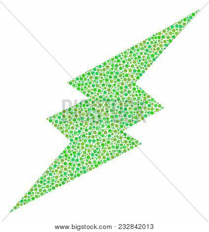 Electric Spark Composition Of Round Dots In Different Sizes And Fresh Green Color Tinges. Circle Dot