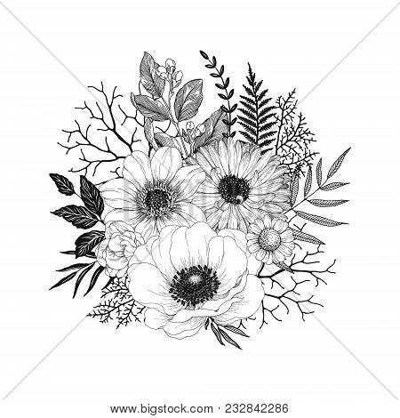 Hand Drawn Decor With Flowers Anemone, Dahlia And Calendula, Leaves And Branches. Vector Nature Illu