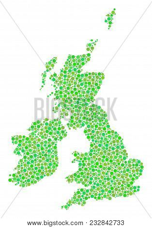 Great Britain And Ireland Map Mosaic Of Dots In Different Sizes And Ecological Green Color Tones. Ci
