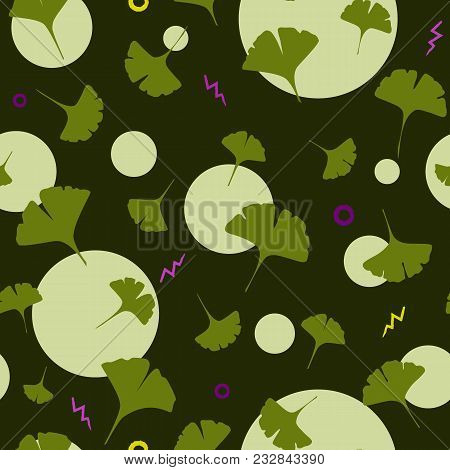 Ginkgo Seamless Pattern On Dark Background With Cute Circles And Cartoon Lightening. Vector Illustra