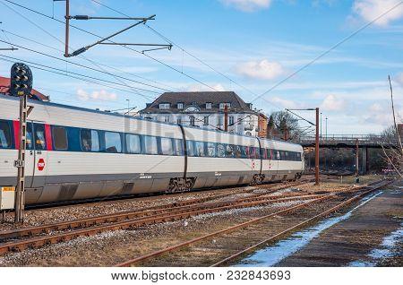 Slagelse Denmark - February 24. 2018: Dsb Ir4 Electric Regional Train Leaving Slagelse Train Station