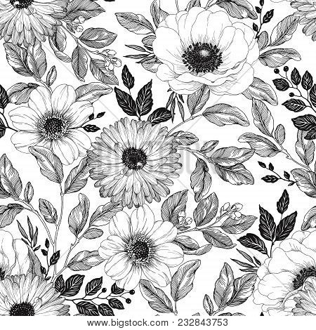 Hand Drawn Elegant Pattern With Flowers Anemone, Dahlia And Calendula, Branches And Foliage. Vector