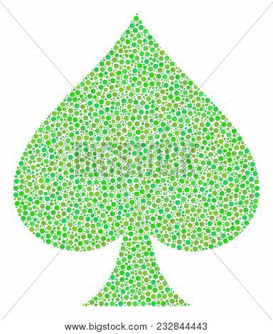 Peaks Suit Composition Of Small Circles In Various Sizes And Ecological Green Color Tones. Round Dot