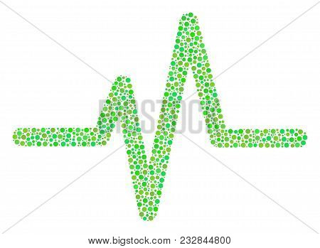 Pulse Mosaic Of Round Dots In Various Sizes And Green Color Tinges. Dots Are Grouped Into Pulse Vect