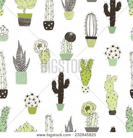 Seamless Abstraction Pattern With Different Cactuses And Succulents. Vector Doodle Illustration On W