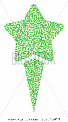 Starting Star Mosaic Of Circle Dots In Different Sizes And Eco Green Color Hues. Circle Dots Are Org
