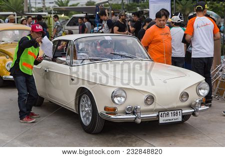 Nonthaburi, Thailand - March 10, 2018: Vw Karmann Ghia Type 34  Join Volkswagen Club Meeting At Car