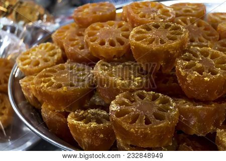 Bael Fruit Or Aegle Marmelos Preserved By Sweet Syrup On Container For Sale At The Asian Market Or S