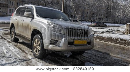 Kazakhstan, Ust-kamenogorsk, March 20, 2018: Toyota Land-cruiser Prado 150. Toyota Land Cruiser Prad