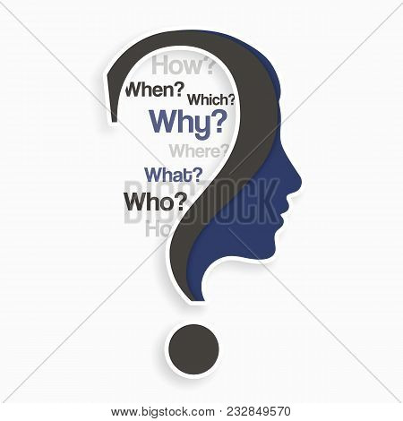 Question Mark With Human Head And Lot Of Questions. Education And Innovation Concept.