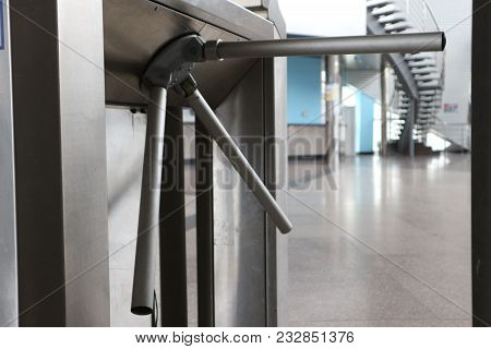 Turnstile In The Transport For The Passage Of Passengers To The Station