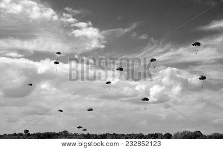 World War Ii Era Parachute Drop In Black And White