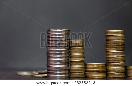 Euro Coins. Euro Money. Euro Currency.coins Stacked On Each Other In Different Positions. Money Conc