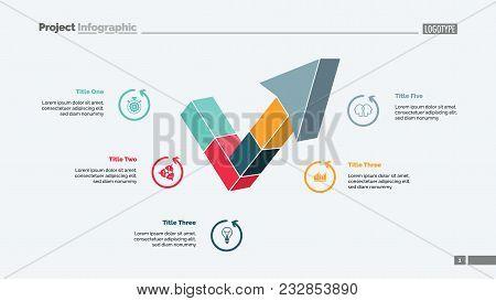 Five Segment Process Chart Slide Template. Business Data. Project, Plan, Design. Creative Concept Fo