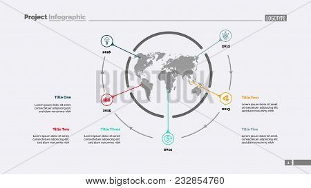 Five World Map Items Process Chart Slide Template Business Data Timeline Point