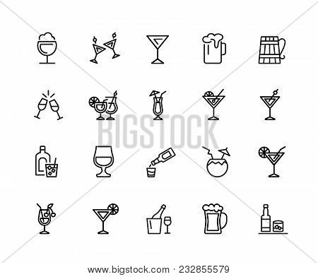 Alcohol Icons. Set Of Twenty Line Icons. Cocktail, Toast, Martini. Alcoholic Drinks Concept. Vector