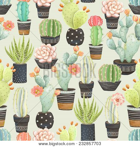 Seamless Pattern Of Cacti In Dark Flower Pots, Vector Illustration In Vintage Style.