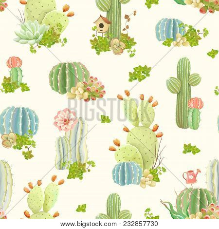 Seamless Nature Pattern With Flowers, Cactus And Succulents, Vector Illustration In Vintage Style.