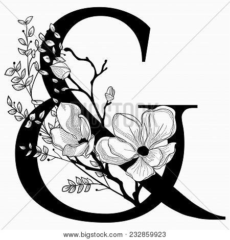 Vector Hand Drawn Floral Ampersand Monogram Or Logo. Ampersand With Flowers And Branches, Cherry Blo
